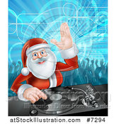 Vector Illustration of Santa Claus Dj Mixing Christmas Music on a Turntable with People Dancing in the Background 2 by AtStockIllustration