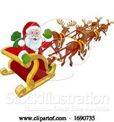 Vector Illustration of Santa Claus Flying Christmas Sleigh and Reindeer by AtStockIllustration