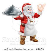 Vector Illustration of Santa Claus Gesturing Ok, Wearing an Apron and Holding a Food Platter by AtStockIllustration