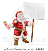 Vector Illustration of Santa Claus Holding a Paintbrush and Sign by AtStockIllustration