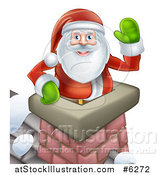 Vector Illustration of Santa Claus in a Roof Top Chimney, Smiling and Waving on Christmas Eve by AtStockIllustration