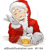 Vector Illustration of Santa Claus in His Uniform and Hat, Giggling While Drinking Beer at a Bar by AtStockIllustration