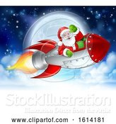 Vector Illustration of Santa Claus in Rocket Christmas Moon by AtStockIllustration