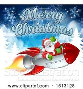 Vector Illustration of Santa Claus in Rocket Merry Christmas by AtStockIllustration