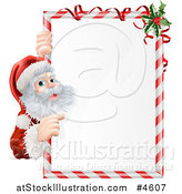 Vector Illustration of Santa Claus Looking Around and Pointing to a Candy Cane Sign with Holly by AtStockIllustration