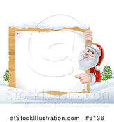 Vector Illustration of Santa Claus Pointing Around a Blank Wooden Christmas Sign in the Snow by AtStockIllustration