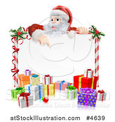 Vector Illustration of Santa Claus Pointing down to a Candy Cane Sign with Presents by AtStockIllustration