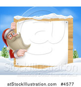 Vector Illustration of Santa Claus Pointing to a Christmsa Sign in a Winter Landscape by AtStockIllustration