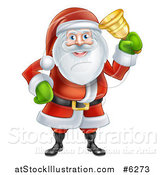 Vector Illustration of Santa Claus Ringing a Christmas Donation Charity Bell by AtStockIllustration