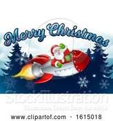Vector Illustration of Santa Claus Rocket Merry Christmas Forest by AtStockIllustration