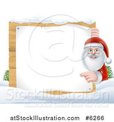 Vector Illustration of Santa Claus Smiling and Pointing Around a Blank Christmas Sign in the Snow by AtStockIllustration