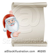 Vector Illustration of Santa Claus Smiling and Pointing Around a Blank Scroll Christmas Sign by AtStockIllustration