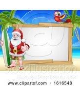 Vector Illustration of Santa Claus Surf Beach Christmas Background Sign by AtStockIllustration