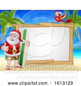 Vector Illustration of Santa Claus Surf Beach Christmas Sign by AtStockIllustration