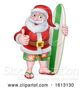 Vector Illustration of Santa Claus Surf Christmas by AtStockIllustration