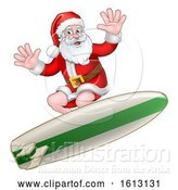 Vector Illustration of Santa Claus Surfing Christmas by AtStockIllustration