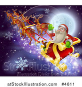 Vector Illustration of Santa Claus Waving and Riding His Sleigh over a Full Moon by AtStockIllustration