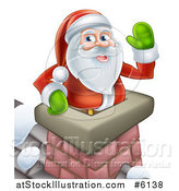 Vector Illustration of Santa Claus Waving in a Chimney on Christmas Eve by AtStockIllustration