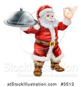 Vector Illustration of Santa Gesturing Ok and Holding a Cloche by AtStockIllustration