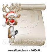 Vector Illustration of Santa Hat Reindeer Christmas Scroll Sign by AtStockIllustration