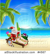 Vector Illustration of Santa Holding a Cocktail and Sun Bathing on a Tropical Beach with Items by AtStockIllustration