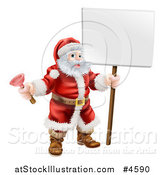 Vector Illustration of Santa Holding a Plunger and a Sign by AtStockIllustration