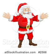 Vector Illustration of Santa Holding His Hands out by AtStockIllustration