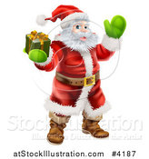 Vector Illustration of Santa Holding out a Gift Box and Waving by AtStockIllustration