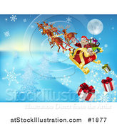 Vector Illustration of Santa Looking Back and Dropping Christmas Gifts As He Flies in His Sleigh by AtStockIllustration