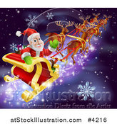 Vector Illustration of Santa Looking Back and Waving While Flying in His Sleigh over Snow and Stars by AtStockIllustration