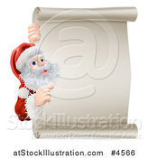 Vector Illustration of Santa Pointing Around a Scroll Sign by AtStockIllustration