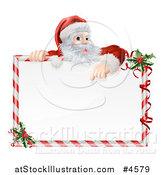 Vector Illustration of Santa Pointing down at a Candy Cane Frame Sign by AtStockIllustration
