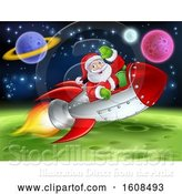 Vector Illustration of Santa Riding a Rocket in Outer Space by AtStockIllustration