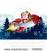 Vector Illustration of Santa Riding in a Rocket over Evergreen Trees and Snowflakes by AtStockIllustration