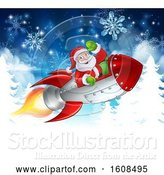 Vector Illustration of Santa Riding in a Rocket over Trees and Snowflakes by AtStockIllustration