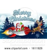 Vector Illustration of Santa Rocket Sleigh Merry Christmas Background by AtStockIllustration