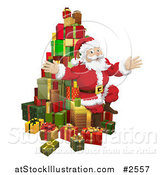 Vector Illustration of Santa Sitting with a Pile of 3d Gifts by AtStockIllustration