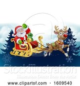 Vector Illustration of Santa Sleigh Reindeer Christmas Background by AtStockIllustration