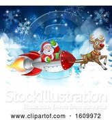 Vector Illustration of Santa Sleigh Rocket Christmas Background by AtStockIllustration