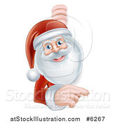 Vector Illustration of Santa Smiling and Pointing Around a Christmas Sign by AtStockIllustration