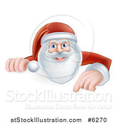 Vector Illustration of Santa Smiling and Pointing down at a Christmas Sign by AtStockIllustration