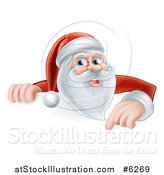 Vector Illustration of Santa Smiling and Pointing down over a Christmas Sign by AtStockIllustration