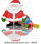 Vector Illustration of Santa Spilling Gifts out of His Sack by AtStockIllustration