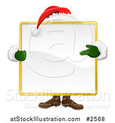 Vector Illustration of Santa Standing Behind a Large Square Sign by AtStockIllustration