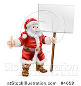 Vector Illustration of Santa Standing, Holding a Thumb up and a Sign by AtStockIllustration