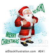 Vector Illustration of Santa Standing in Snow, Surrounded by Snowflakes by AtStockIllustration