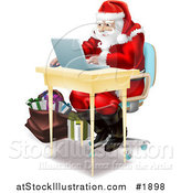 Vector Illustration of Santa Using a Laptop to Do His Christmas Shopping Online by AtStockIllustration