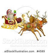 Vector Illustration of Santa Waving and Flying in a Magic Sleigh with Two Reindeer by AtStockIllustration
