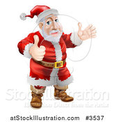 Vector Illustration of Santa Waving and Holding a Thumb up by AtStockIllustration