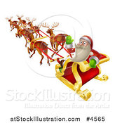 Vector Illustration of Santa Waving and Looking Back While Flying in a Reindeer Sleigh by AtStockIllustration